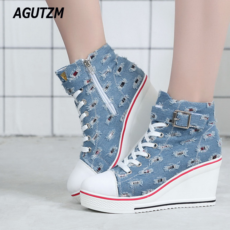 AGUTZM Women Wedges Causal Shoes Woman Breathable Platform Denim Canvas Shoes Hidden Wedge Sneakers Zapatillas Mujer