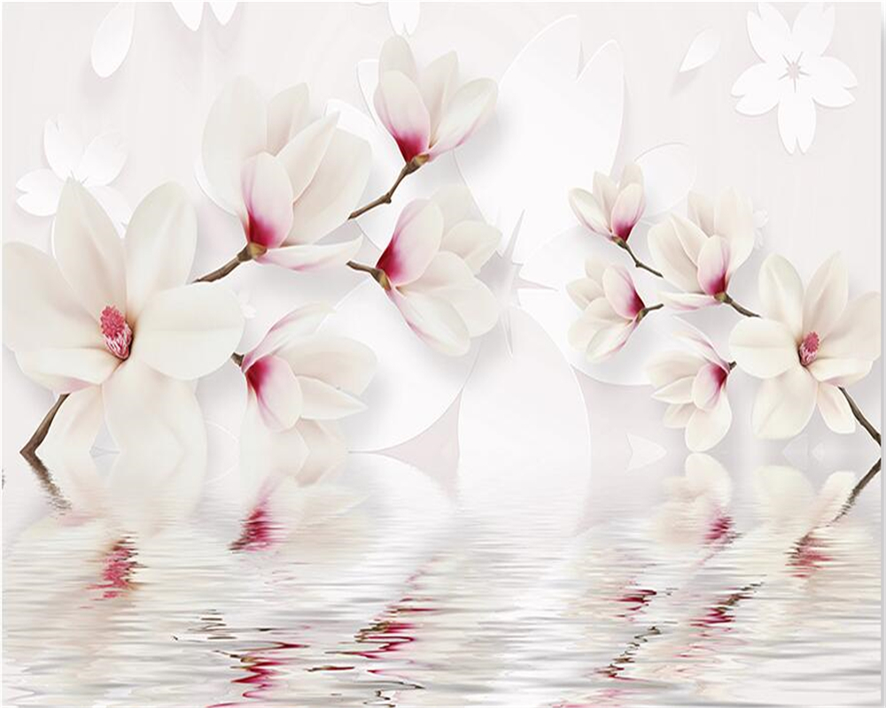 Купить с кэшбэком beibehang Custom wall murals wallpaper white magnolia flower, 3D photo wallpaper mural bedroom living room TV wall 3D wallpaper