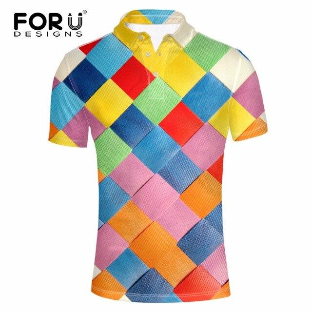 FORUDESIGNS Новый 3D Красочные Решетки Pattern Polo Shirt для Мужчин Slim Fit Рубашка Мужская Одежда Высшим Homme Мужская Рубашка Camisas