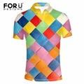 FORUDESIGNS New 3D Colorful Lattice Pattern Polo Shirt for Men Slim Fit Shirt Men Clothes Supreme Homme Mens Dress Shirt Camisas