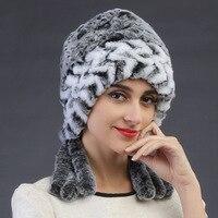 2016 autunno inverno Super caldo inverno donne genuine rex rabbit fur cappello amore paraorecchie Del Coniglio Del Rex della protezione della signora di lusso cappello di pelliccia di Alta qualità