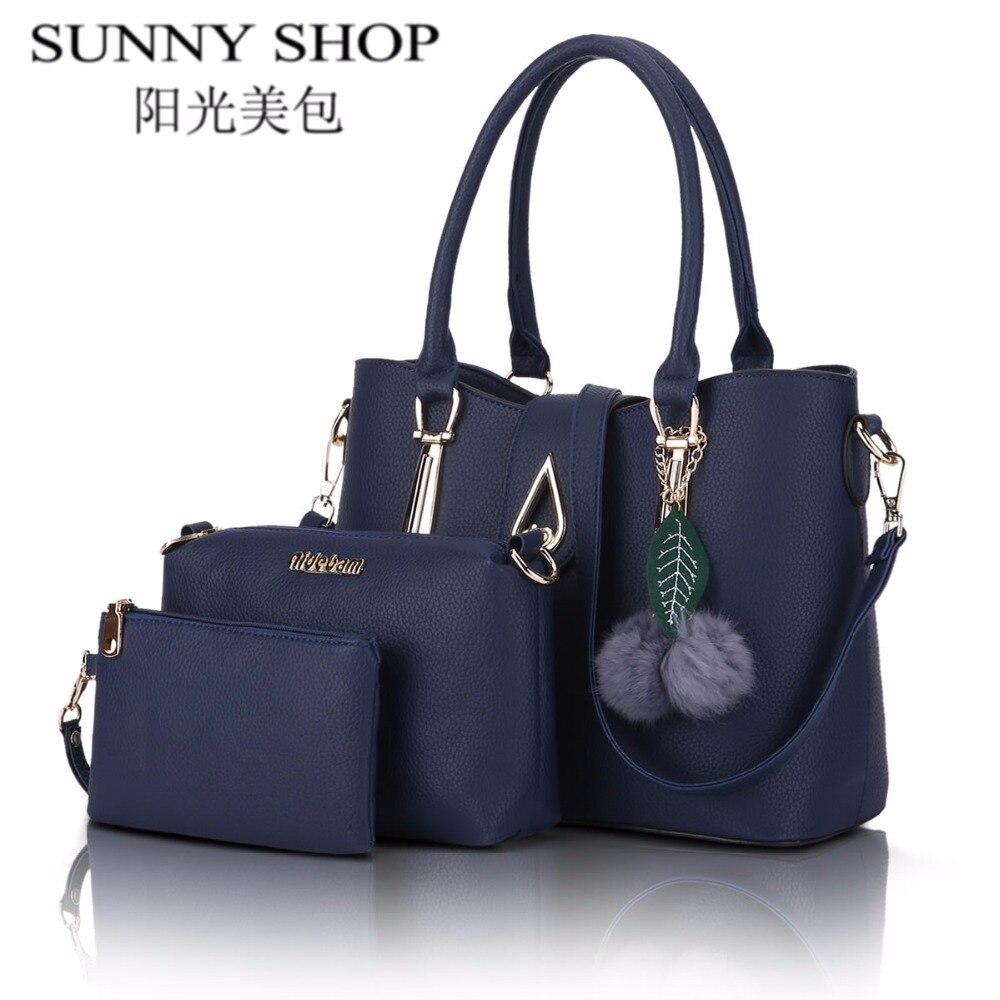 SUNNY SHOP 2017 new leather bags women famous brand shoulder bag designer handbags high quality women messenger bags 3 Bags/ set