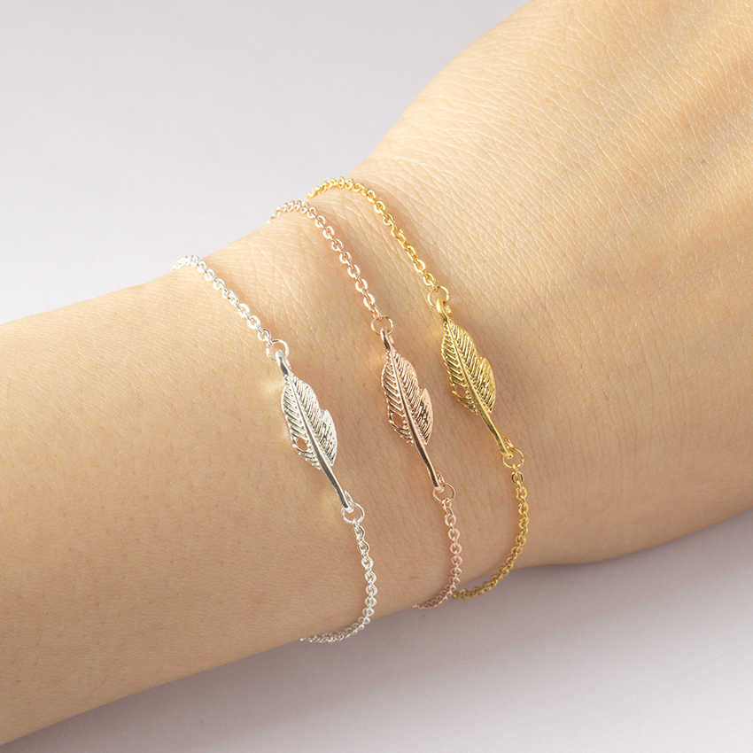 Rose Gold Color Vintage Feather Leaf Bracelet Women Men Unique BFF Jewelry Femenino Stainless Steel Charm Chain Bracelet Bijoux