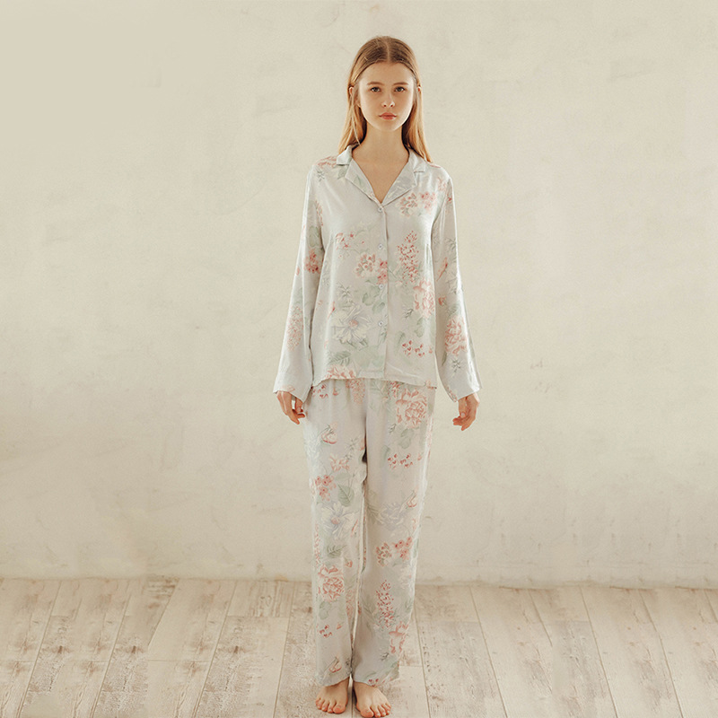 Summer Tribute Satin Flower Printing Pajamas Sweet Long-sleeved Sleepwear Loungewear Women Turn-down Collar Pyjamas Home Clothes