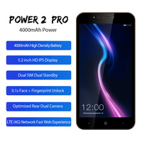 LEAGOO POWER 2 Pro 5.2 HD Mobile Phone Android 8.1 MTK6739 Quad Core 2GB 16GB 4000mAh Face ID 8MP Dual Cameras 4G Smartphone