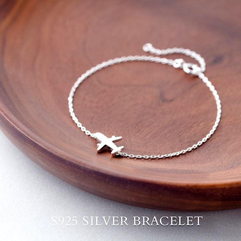 Real. 925 Sterling Silver Jewelry Matte Awyrennau awyren Breichled cadwyn plât Charm addasadwy sterling-arian i Girls Woman