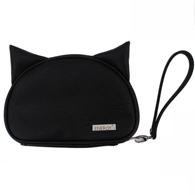 1pcs Cute Cat Zipper Black Travel Makeup Brush Bag Empty Organizer Pouch Pocket Holder Kit Cosmetic Make Up Tool Storage Case