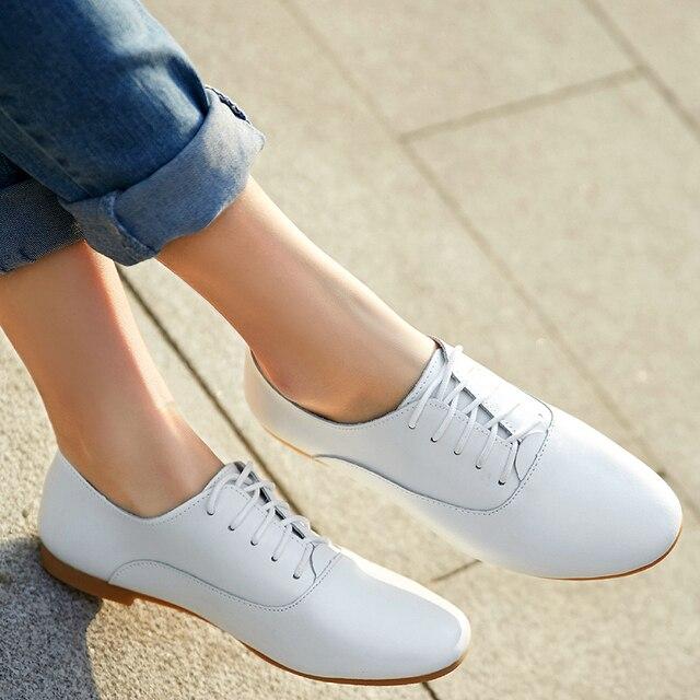 Mujeres Pisos Auténtico Cuero Oxford Para Moda Niza Zapatos Nueva DH9Yeb2EIW