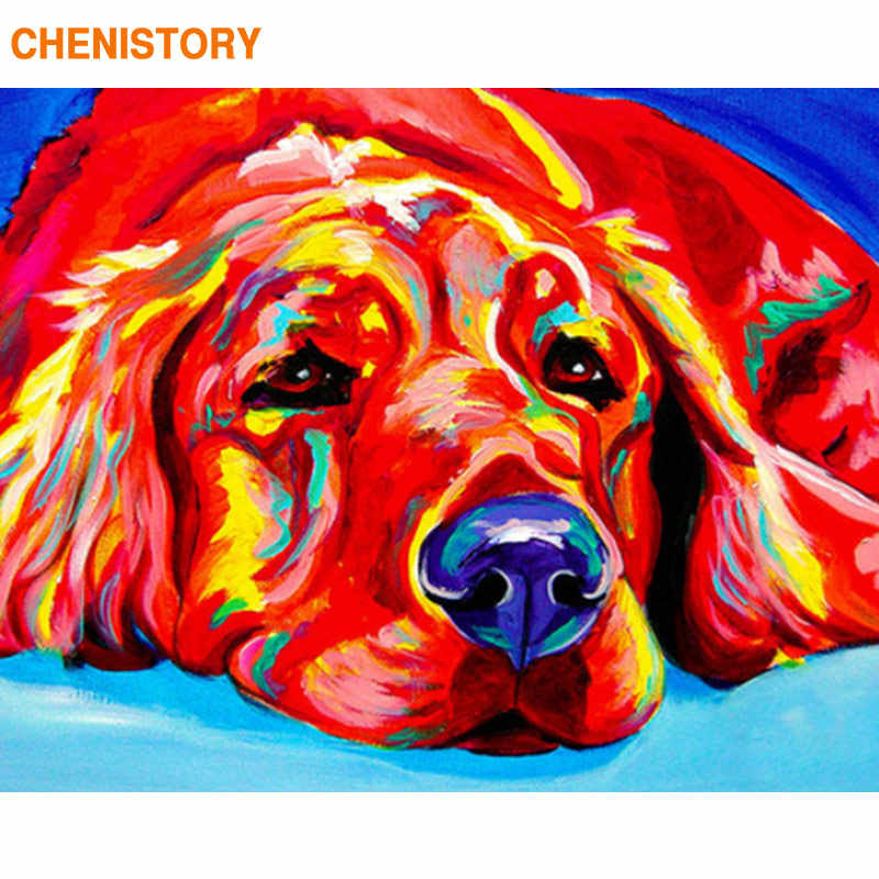 CHENISTORY Frame Colorful Dogs Diy Painting By Numbers Black White Calligraphy Painting Acrylic Paint On Canvas Home Decor 40x50