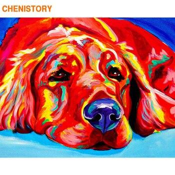 CHENISTORY מסגרת צבעוני כלבים Diy ציור שחור לבן קליגרפיה ציור אקריליק צבע על בד בית תפאורה 40x50
