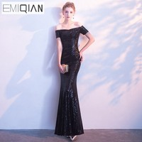 Evening Dress Long Sparkle EMIQIAN 2018 New Boat Neck Women Elegant Sequin Mermaid Maxi Evening Party