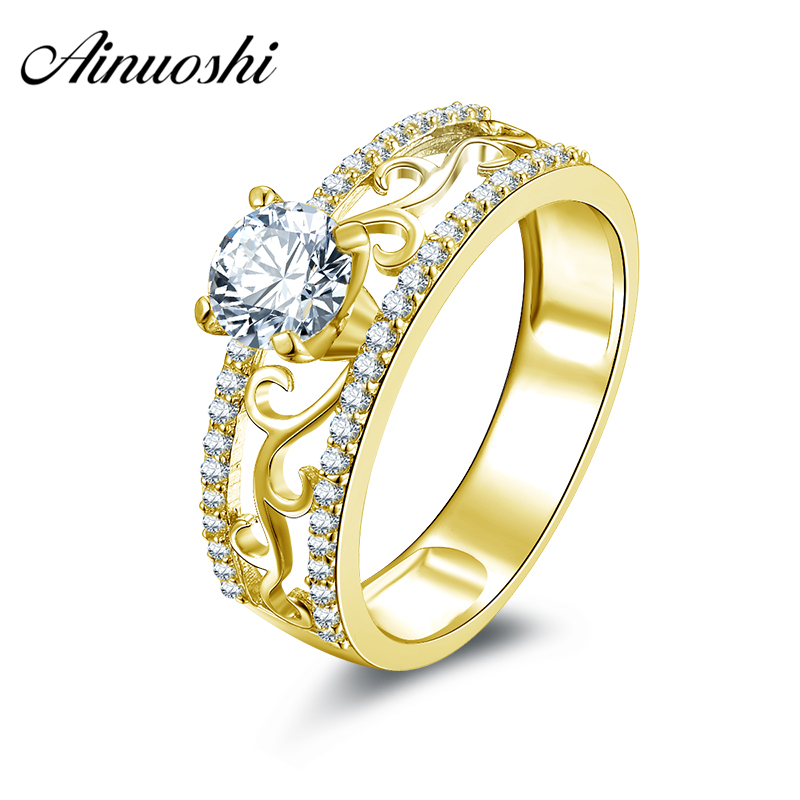 AINUOSHI 10k Solid Yellow Gold Women Wedding Ring Hollow Design Finger Band 5.5mm Round Cut Simulated Diamond Lover Promise Ring punk style solid color hollow out ring for women