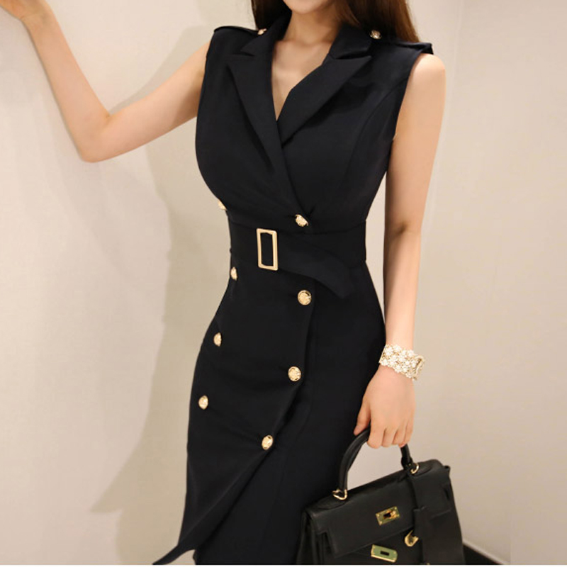 b3d31442ee94f New Women Solid Notched Double Breasted Sleeveless High Waist Bodycon  Blazer Dress With Belt Elegant Office Lady Jacket D86009F-in Dresses from  Women s ...
