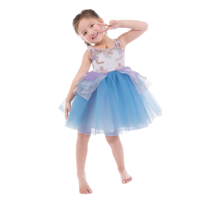 цена на Girls Dress Vestidos Embroidery Beading Girl Princess Dress Unicorn Party Costumes for Kids Clothes Baby Girls Summer Dresses