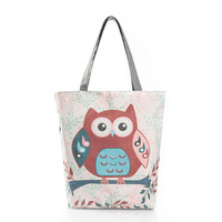 Colorful Owl Designs Soft Foldable Tote Large Capacity Women Shopping Bag Bag Lady S Daily Use
