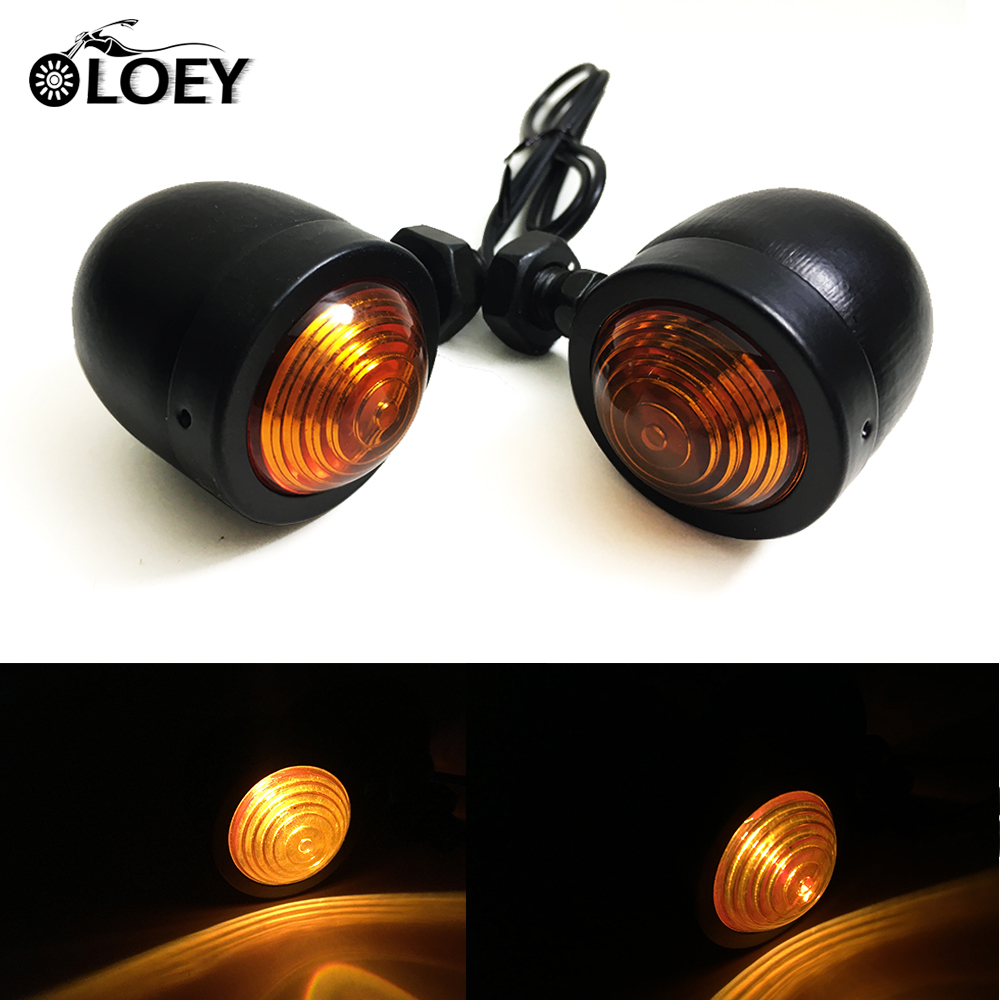 2Pcs Motorcycle Black Turn Signal Bullet Indicator Lights Amber Blinker Flashing For Moto Cruiser Chopper Cafe Racer
