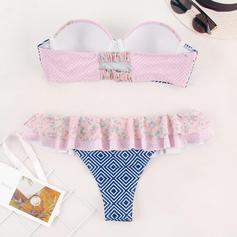 HTB1HR3aeliE3KVjSZFMq6zQhVXap Miyouj Ruffle Bikini Off Shoulder Floral Swimsuit Bandage Bow Swimwear Push Up Biquini Feminino Bathing Suit Women Bikini Set