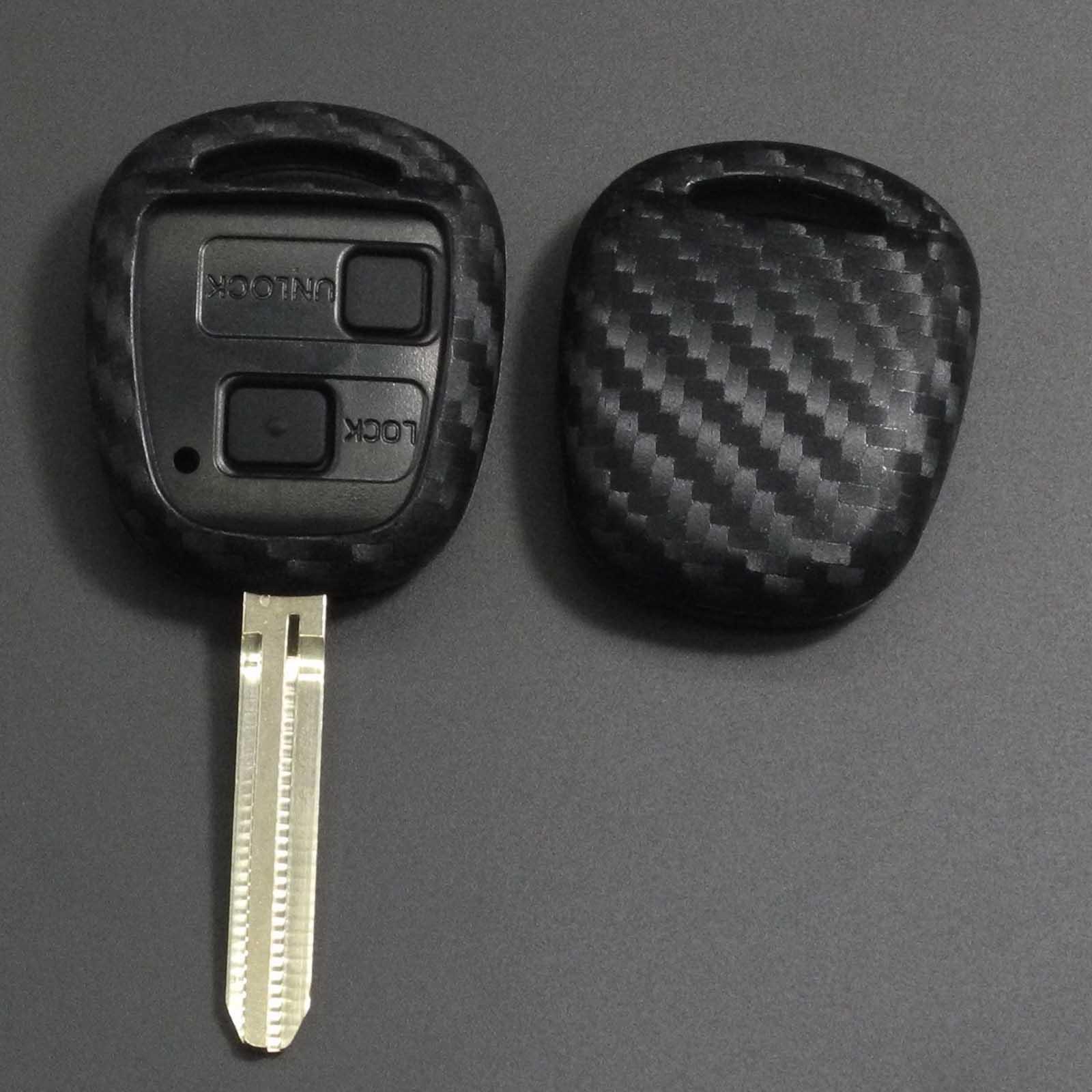 Jingyuqin Carbon Silicone Car Remote Key Fob Case Cover For TOYOTA CAMRY RAV4 Corolla PRADO YARIS Protective Shell Keychain