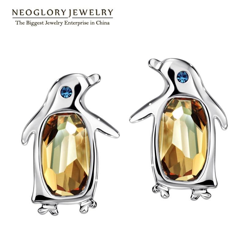 Neoglory, австрийские кристаллы и стразы, милые пингвины, серьги-гвоздики для женщин, для девочек-подростков, Модный Ювелирный камень, подарок, новинка - Окраска металла: yellow