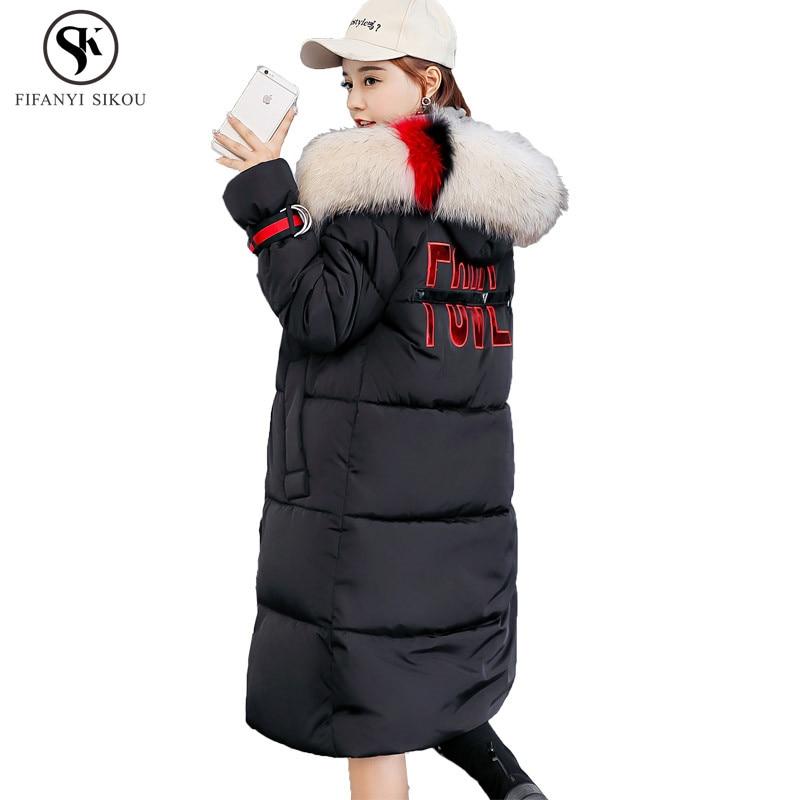 2018 Fourrure Long Nouveau Épaissir D'hiver Coton Femmes Plus Chaud À Black red Garder De La Taille armygreen Impression gray Manteau Capuchon Femelle Hiver white Col Lgp666 Au TlJ1FcK