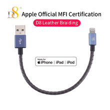 D8 Mfi Certified USB Cable 0.15m Lighting Data Line for iPhone XS MAX XR X 7 8 Plus 6 IOS Genuine Leather Short Cable For iPad