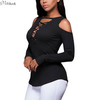 VITIANA Women Spring Fashion Long Sleeve T Shirt Lady Sexy V Neck Hollow Out Casual Party