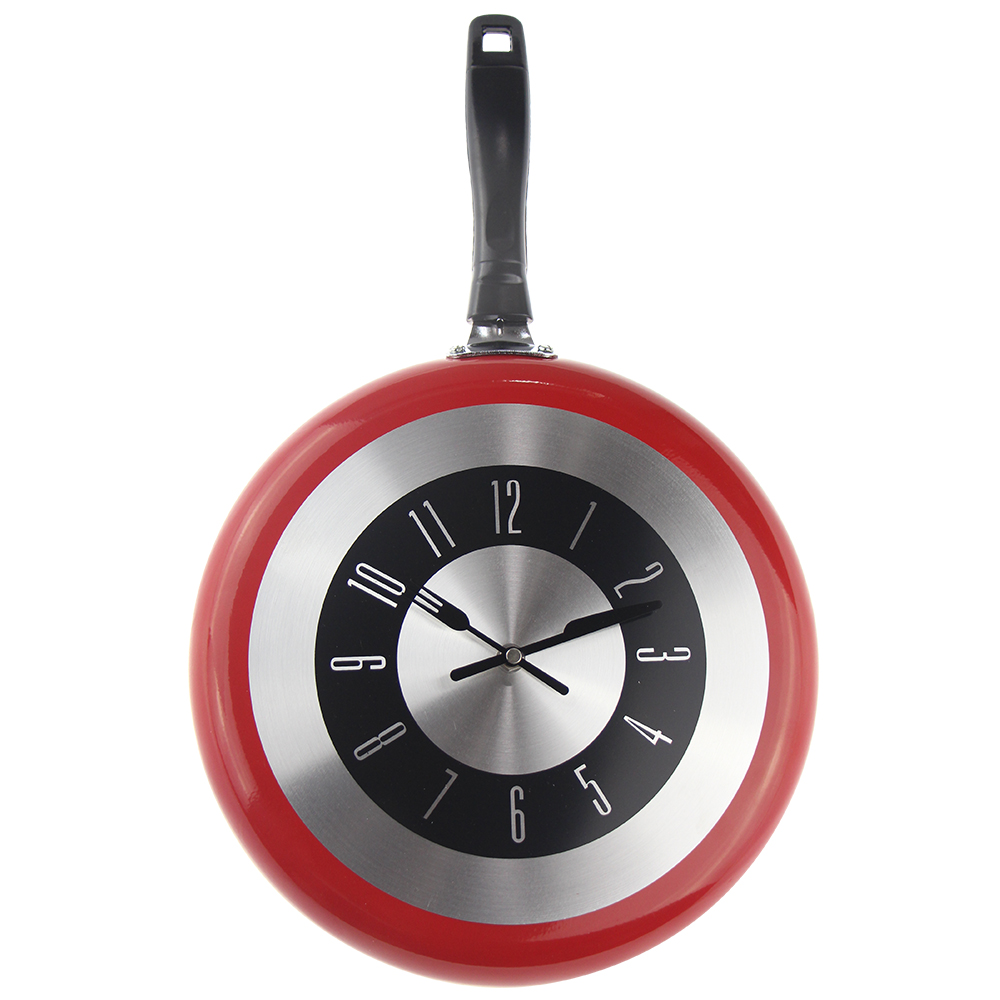 Stort 12-tommer Vægur Moderne Design Køkken Frying Pan Metal Ur Fashion Style Boligindretning Big Watch Horloge Murale Wanduhren