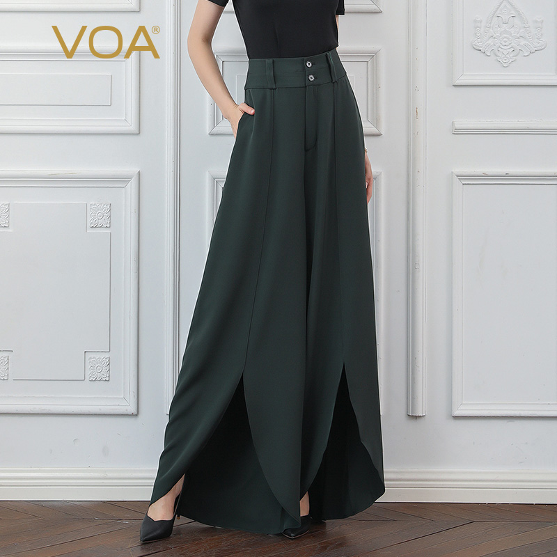 VOA Heavy Silk Wide Leg Pants Army Green High Waist Women Long Trousers Basic Casual Simple Loose Large Size Cool Elegant K339