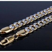 """Классическое кубинское ожерелье 2-tone Золотое заполненное мужское ожерелье цельная цепочка подарок 2"""" /20"""" длинное"""