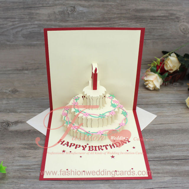 3d Pop Up Handmade Birthday Cake Shape Greeting Cards Happy Birthday