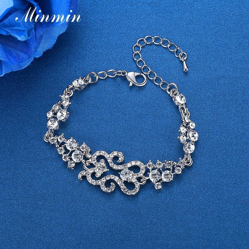 Minmin Klasik Tasarım Bilezik Kadınlar için Gümüş Renk Kristal - Kostüm mücevherat - Fotoğraf 5