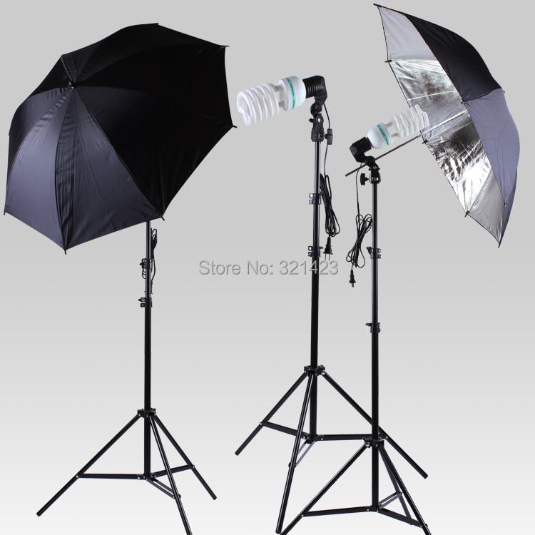 33 Flash Black Silver Reflector Umbrella E27 Lamp Holder 150W 5500K Bulbs 75-200cm Light Stand 3PCS Photography Lamp Kit 30cm portable triangle shaped nylon dual side flash reflector board golden silver black