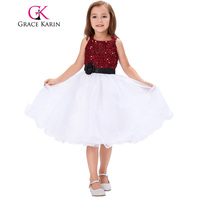 2017 Spaghetti Straps Sequined Pageant Dresses for Little Girls White Red Flower Girl Dress First Communion Gowns for Kids 2017