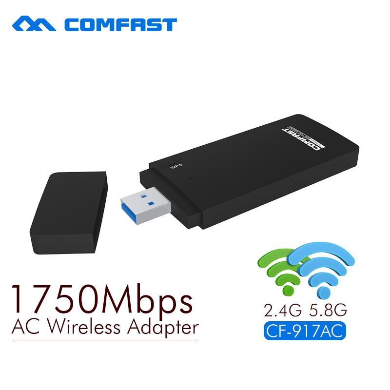 Prix pour COMFAST 2.4G/5.8G double fréquence carte réseau CF-917AC 802.11ac USB Wi-FI ADAPTATEUR 1750 Mbps 11AC USB3.0 4*4 Architecture MIMO
