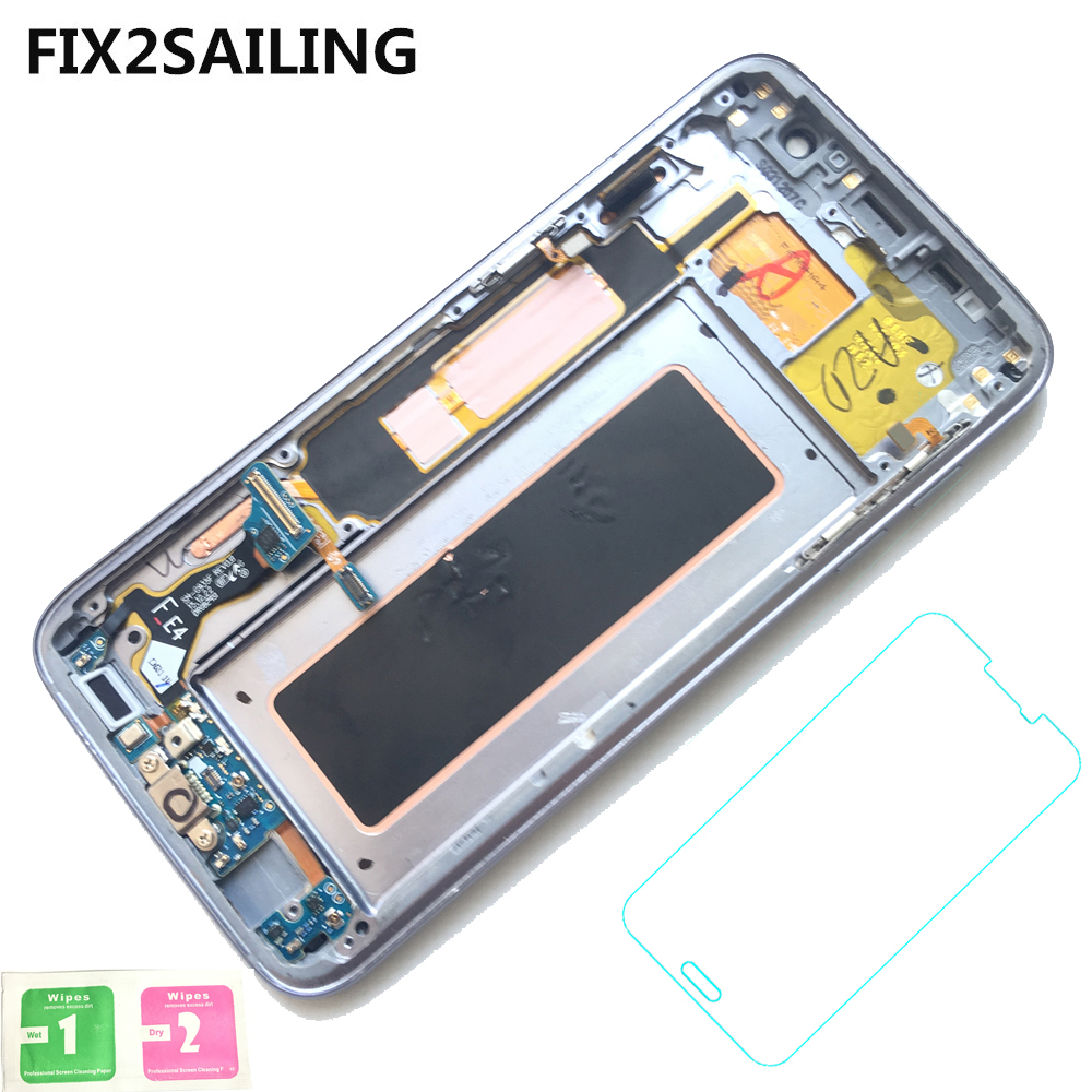 New Super AMOLED LCD Display 100 Tested Working Touch Screen Frame Assembly For Samsung Galaxy S7