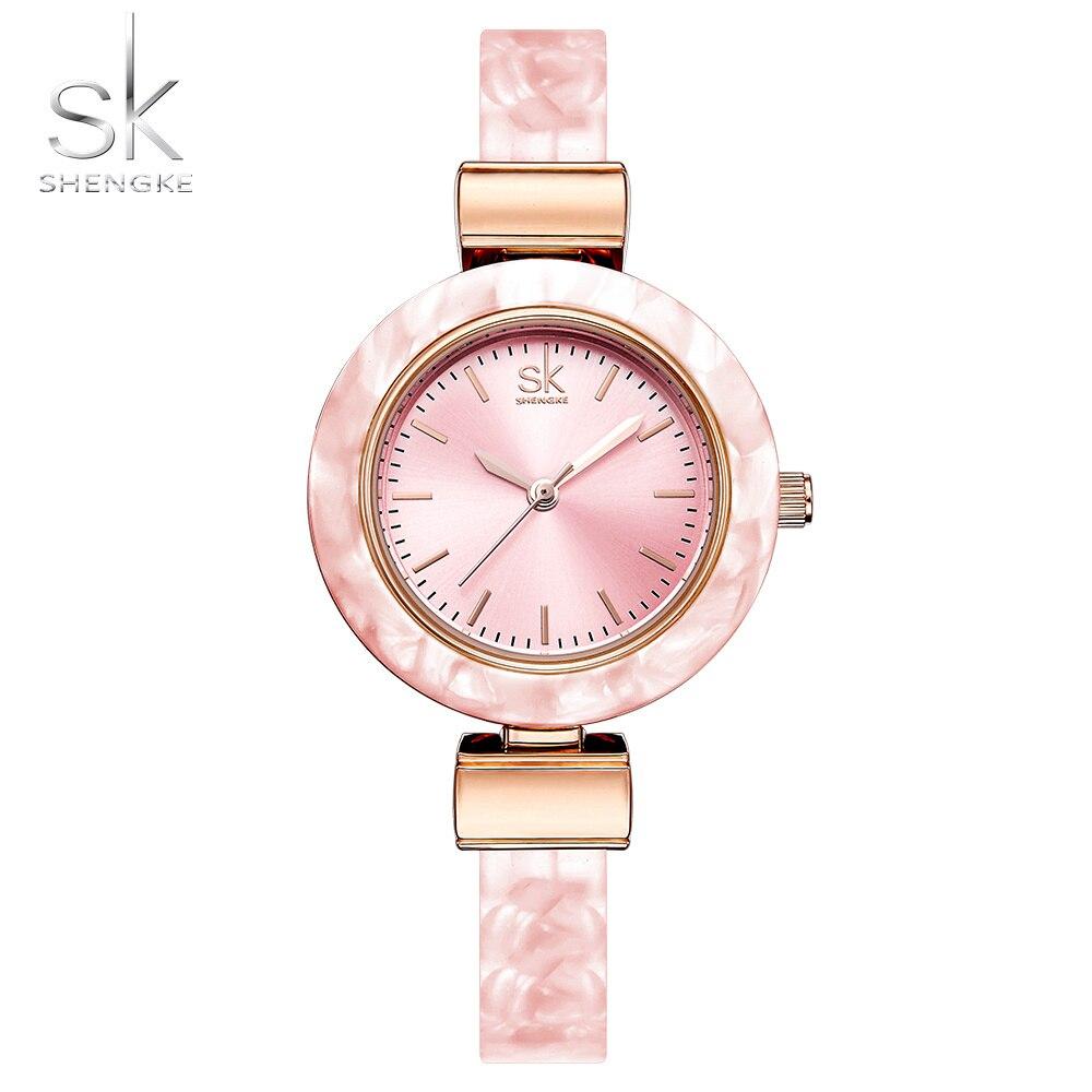 Shengke pulsera mujeres, relojes para dama vestido de moda brazaletes encantador cadena estilo reloj de cuarzo mujeres marca reloj tous señora de la manera de la trenza de la correa de las mujeres vestido reloj 2018