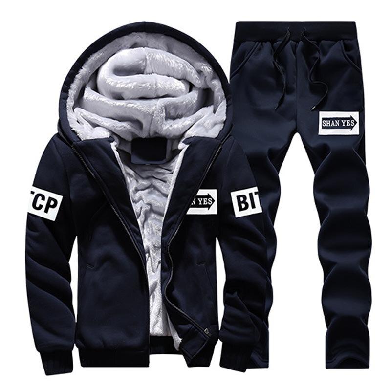 2017 Fashion Men Winter Thick Lnner Wool Hoodie Men Hat Casual Active Suit Men Zipper Exercise Suits Men Outwear Plus Size 4XL