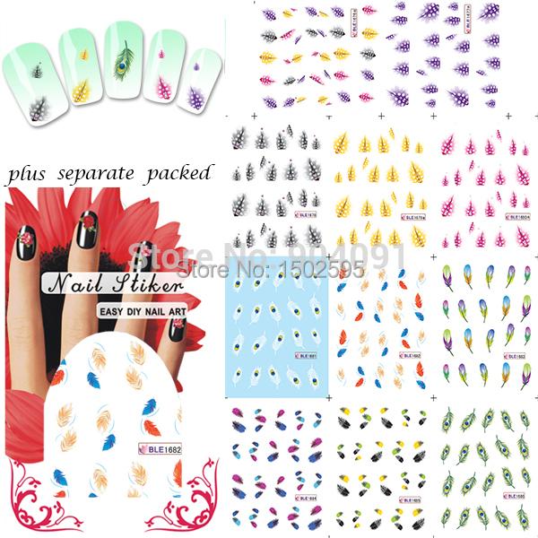 2015 HOTSALE 50 hoja/lot Nail Art Design Plumas Hojas Tatuaje Uñas Tatuajes de agua nail art stickers individualmente embalaje