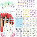 2015 HOTSALE 50sheet/lot Nail Art Design Feather Nail Tattoo Sheets Decals for water nail art stickers individually packaging