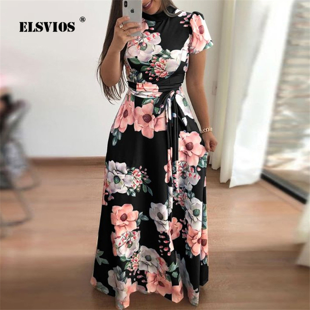 29bafff761 ELSVIOS Fashion Women turtleneck maxi dress Summer floral print long Beach  dresses Ladies Tunic back zipper short sleeve dress