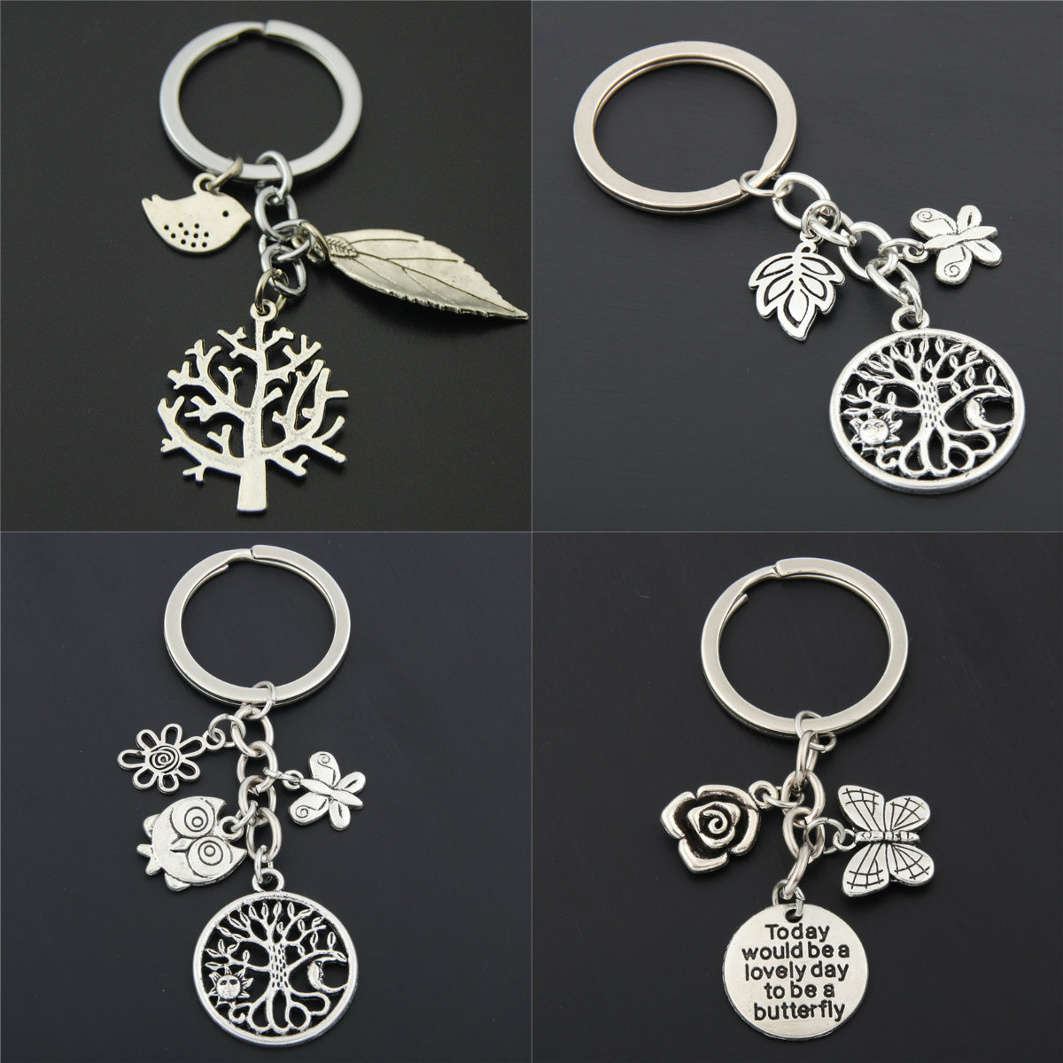 1pc Antique Silver Tree Bird Flower Charms Keychains Leaf Pendant For Bag Keyring For Women Nature Jewelry