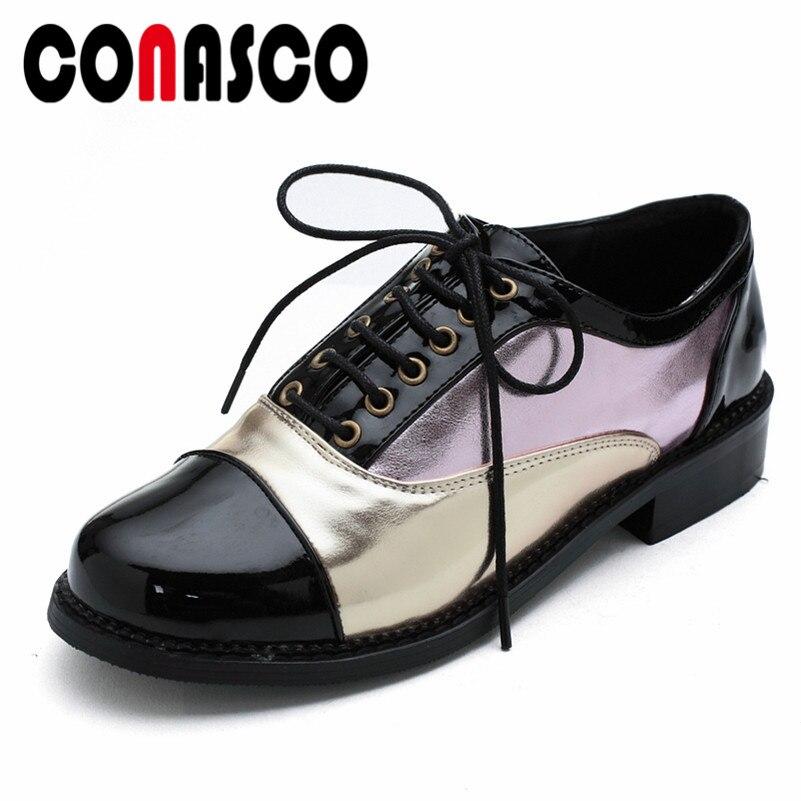 CONASCO marque pompes femmes Med talons printemps automne bout rond à lacets court Martin chaussures femme chaussures confortables décontractées pompes de bal