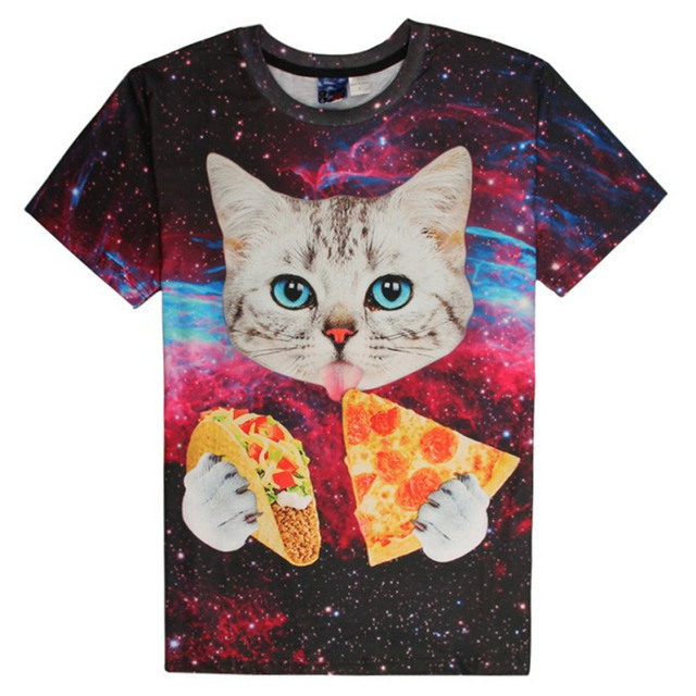f006704b7 2017 new galaxy space 3D t shirt lovely kitten cat eat pizza funny tops tee  short
