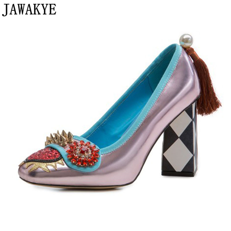 Spring genuine leather Shoes Women crystal rhinestone high heels spicked rivets studded love heart tassel Pumps