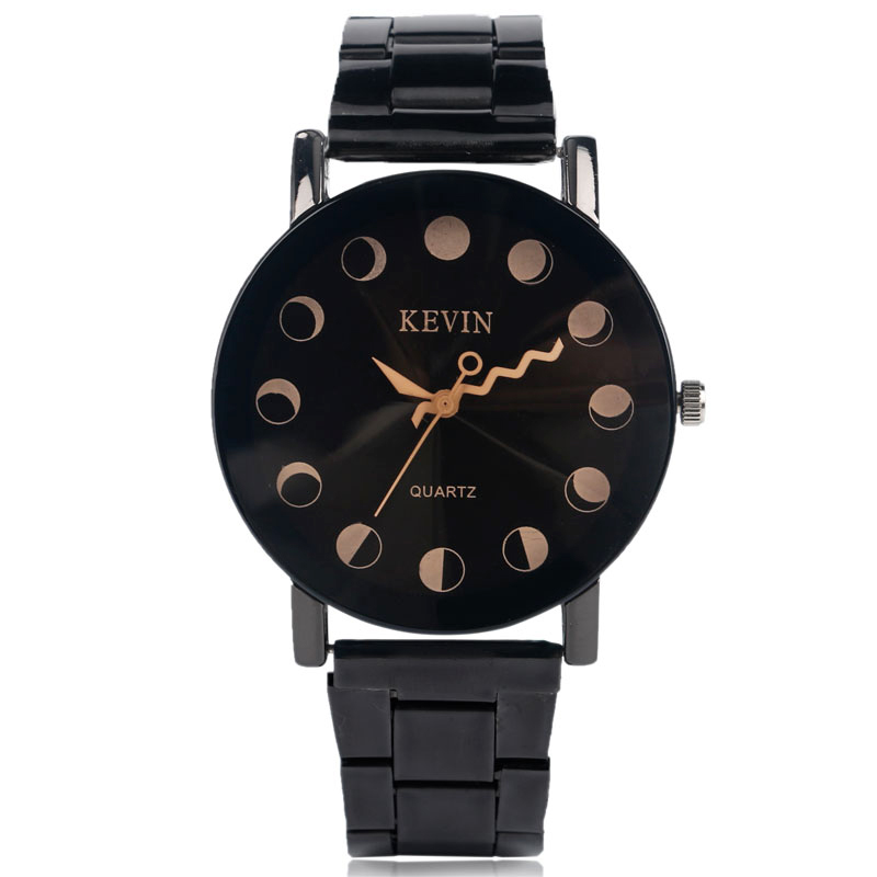 Watches Women Fashion Quartz Watch KEVIN Famous Brands Stainless Steel Strap Black Simple Trendy Wave Line Analog Ladies Clock kevin black red white leather strap women watches modern quartz ladies watch fashion simple arabic numerals dial clock 2018 new