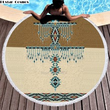 Bear Totem/Native Indian Bath Towel for Beach Thick Round 3d print Fabric Quick Compressed Towel new style-1 indian elephant print chiffon round beach throw
