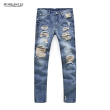 MORUANCLE New Fashion Mens Ripped Jeans Pants With Zipper Streetwear Distressed Denim Joggers Male Torn Trousers
