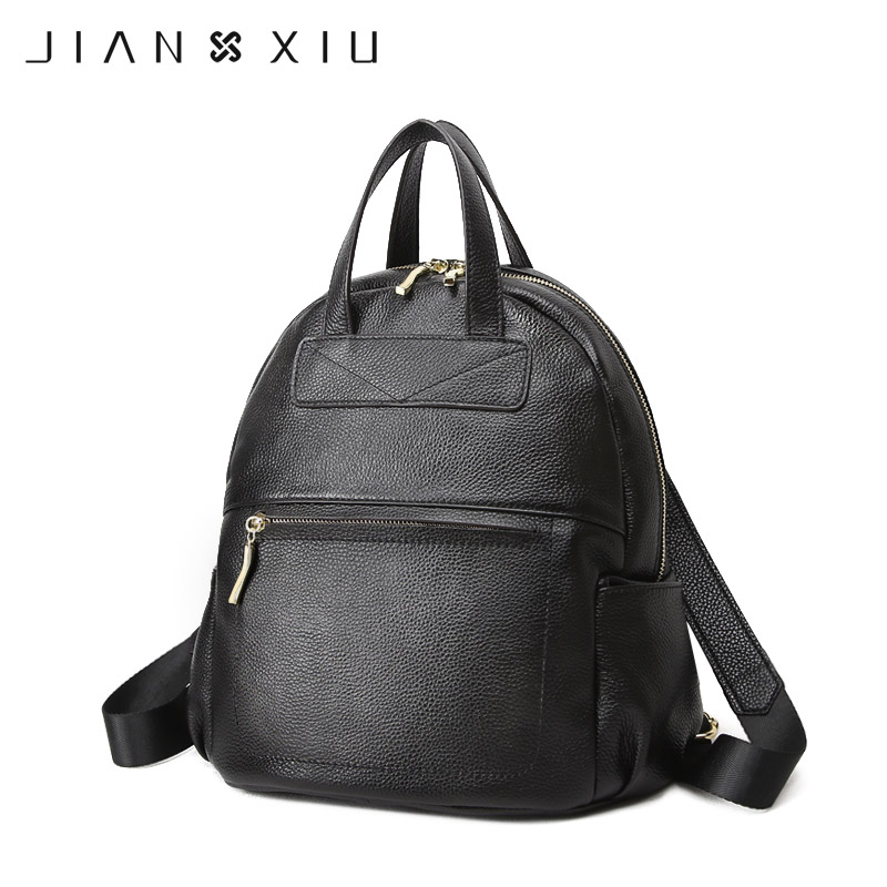 JIANXIU Brand Backpack Mochila Feminina Mochilas School Bags Genuine Leather Backpacks Women Bag Travel Bagpack Mochilas Mujer brand vintage women bagpack beetle shape cool split leather backpack teenager school bag knapsack cowhide mochila feminina