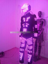 RGB LED light up tron suit costume for stage performance