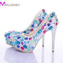 Multi Crystal Bridal Sheos Luxury Rhinestone Wedding Bride Shoes Evening Party Prom Shoes Custom Made Valentine High Heels